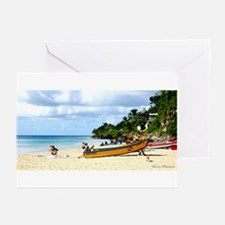 Crash Boat Beach Scene Greeting Cards (Package of