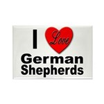 I Love German Shepherds Rectangle Magnet (10 pack)