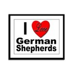 I Love German Shepherds Framed Panel Print