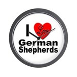 I Love German Shepherds Wall Clock