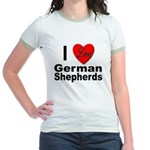 I Love German Shepherds Jr. Ringer T-Shirt
