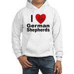 I Love German Shepherds (Front) Hooded Sweatshirt