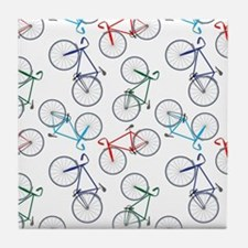 Bicycles Pattern Tile Coaster