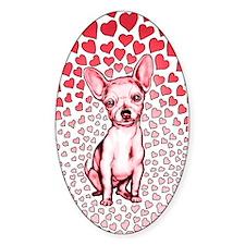Chihuahua Pink Hearts Decal