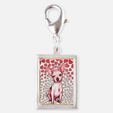 Chihuahua Pink Hearts Silver Portrait Charm