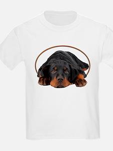 Sleeping Rottweiler Puppy in an Oval Circle T-Shir