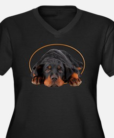 Sleeping Rottweiler Puppy in an Oval Circle Plus S