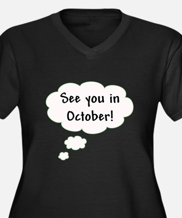 See You in October! Women's Plus Size V-Neck Dark