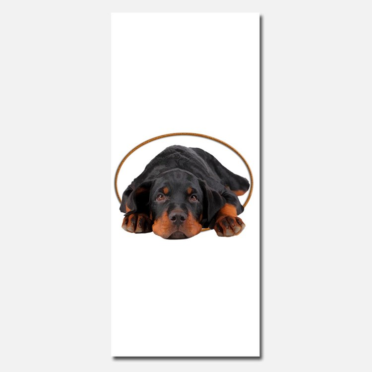 Sleeping Rottweiler Puppy in an Oval Circle Invita