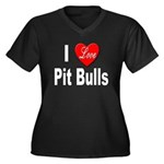 I Love Pit Bulls (Front) Women's Plus Size V-Neck