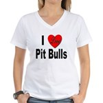 I Love Pit Bulls (Front) Women's V-Neck T-Shirt