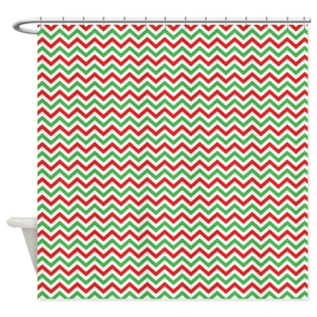 Red And Green Holiday Chevron Shower Curtain By