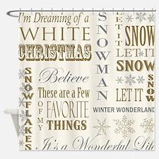 Cute White christmas Shower Curtain