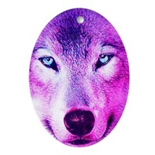 Wolf - Pink Oval Ornament
