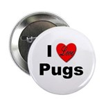 I Love Pugs Button