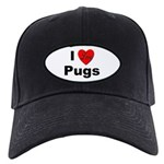 I Love Pugs Black Cap