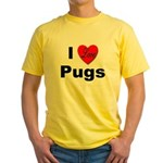 I Love Pugs (Front) Yellow T-Shirt