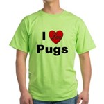 I Love Pugs (Front) Green T-Shirt