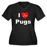I Love Pugs (Front) Women's Plus Size V-Neck Dark