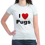 I Love Pugs (Front) Jr. Ringer T-Shirt