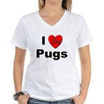 I Love Pugs Women's V-Neck T-Shirt