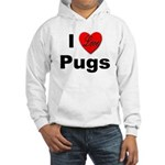 I Love Pugs (Front) Hooded Sweatshirt