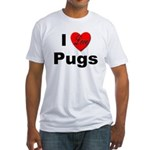 I Love Pugs (Front) Fitted T-Shirt