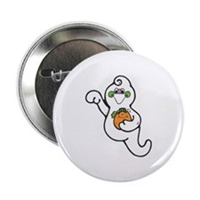 Cute Ghost with Pumpkin Button