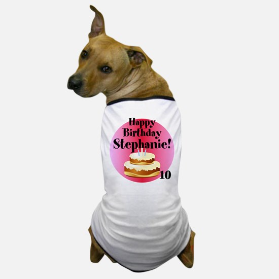 Personalized Name/Age Birthday Cake Pink Dog T-Shi
