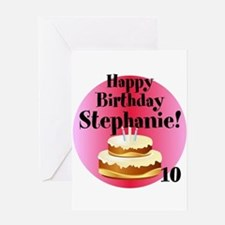 Personalized Name/age Birthday Cake Greeting Cards