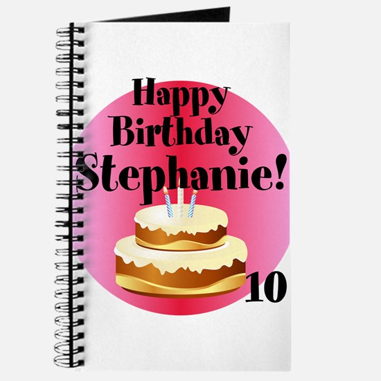 Personalized Name/Age Birthday Cake Pink Journal