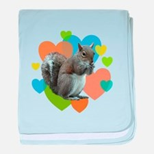 Squirrel Hearts baby blanket