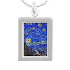 van Gogh: The Starry Night Silver Portrait Necklac