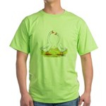 White Chinese Geese Green T-Shirt