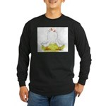 White Chinese Geese Long Sleeve Dark T-Shirt
