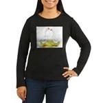 White Chinese Geese Women's Long Sleeve Dark T-Shi