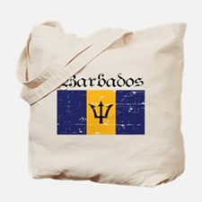 Barbados grunge flag Tote Bag