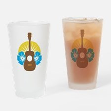 Ukulele Hibiscus Drinking Glass