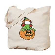 Silly Froggy in Pumpkin Tote Bag