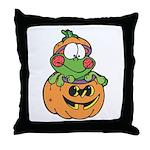 Silly Froggy in Pumpkin Throw Pillow
