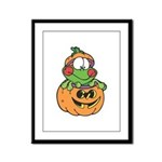 Silly Froggy in Pumpkin Framed Panel Print