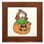 Silly Froggy in Pumpkin Framed Tile