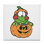 Silly Froggy in Pumpkin Tile Coaster