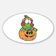 Silly Froggy in Pumpkin Oval Decal