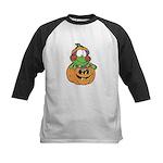 Silly Froggy in Pumpkin Kids Baseball Jersey