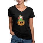 Silly Froggy in Pumpkin Women's V-Neck Dark T-Shir