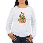Silly Froggy in Pumpkin Women's Long Sleeve T-Shir
