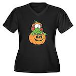 Silly Froggy in Pumpkin Women's Plus Size V-Neck D