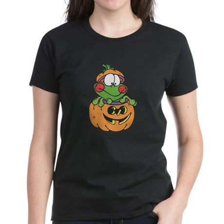 Silly Froggy in Pumpkin Women's Dark T-Shirt