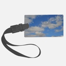 Blue and White Luggage Tag